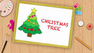 Easy X- Mas Tree Drawing For Kids